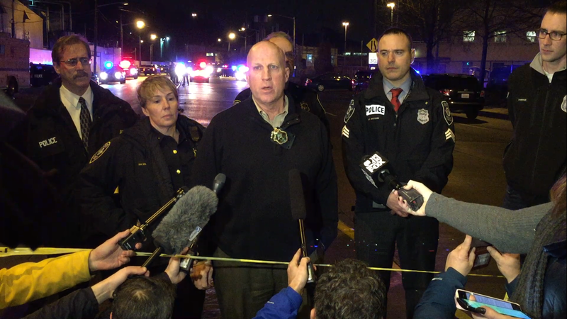 SPD assistant chief Robert Merner responds to reporter questions in the SODO neighborhood after a shooting on Tuesday night.