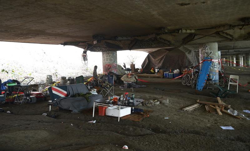 The Jungle, the morning after five people were shot at the homeless encampment. Officially the East Duwamish Greenbelt, everyone calls it The Jungle.