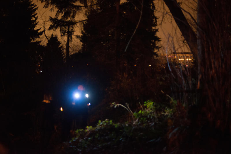 Around 3:20 a.m, volunteers Alex O'Reilly and Daniel Hubbell explore a wooded area behind an apartment complex in search of homeless people, during the One Night Count event on Friday night.