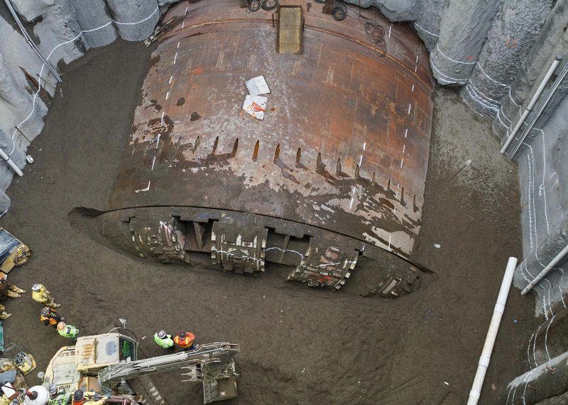 Crews working for Seattle Tunnel Partners watch as the SR 99 tunneling machine's cutterhead rotates during testing on Dec. 16, 2015.