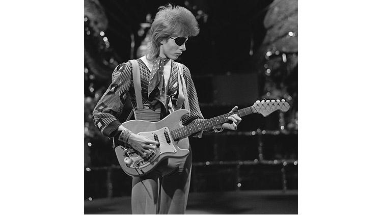 David Bowie, shooting his video for Rebel Rebel in AVRO's TopPop (Dutch television show) in 1974.