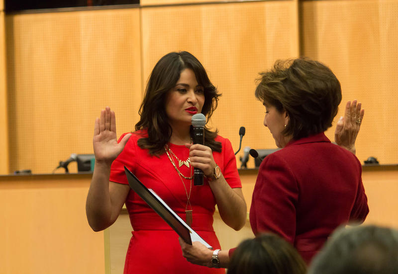 Councilmember Lorena Gonzalez takes her Oath of Office to become the first Latina to serve on the Seattle City Council.