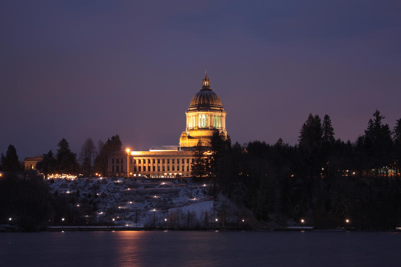 Olympia on a winter's night.