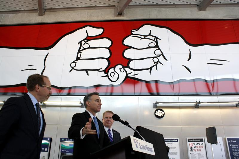 Sound Transit CEO Peter Rogoff, King County Executive Dow Constantine and Seattle Mayor Ed Murray at Capitol Hill's light rail station.