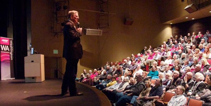 Travel expert Rick Steves speaks at Seattle Central College.