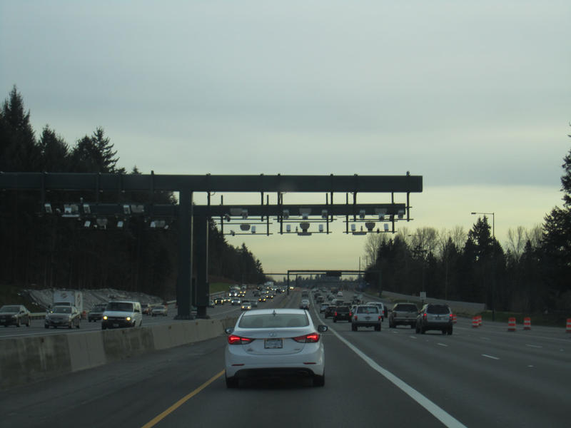 A toll area on Interstate 405.