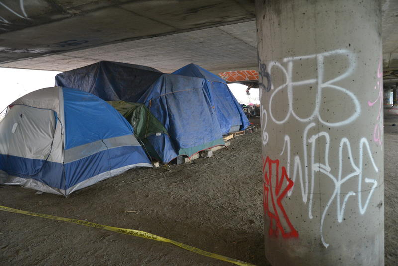 File photo of a homeless encampment under a bridge.