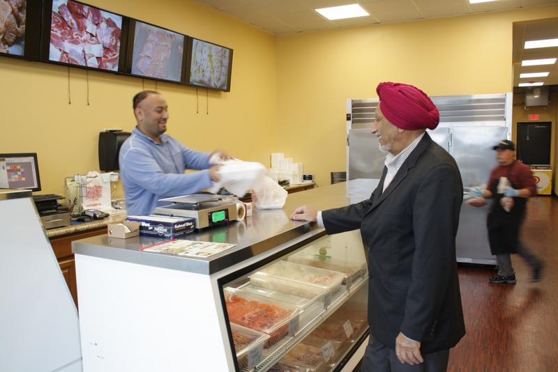 Subeg Singh runs the Best Meat Shop at International Plaza in Kent. He sells lamb, chicken, goat but no beef or pork out of deference to Muslim and Hindu customers.