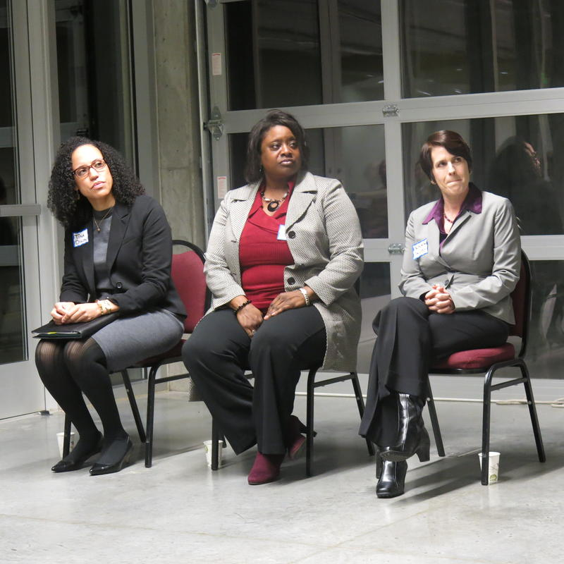 Tina Dixon, Quanetta West and Deborah Jacobs (left to right) are finalists to head King County Office of Law Enforcement Oversight.