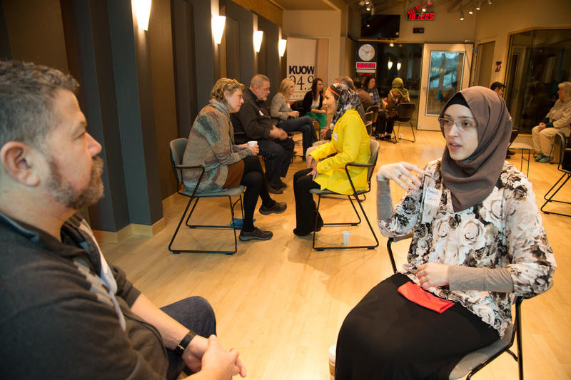 Participants discussed Muslim cultures at KUOW studios at 'Ask A Muslim', Feb. 22, 2016.