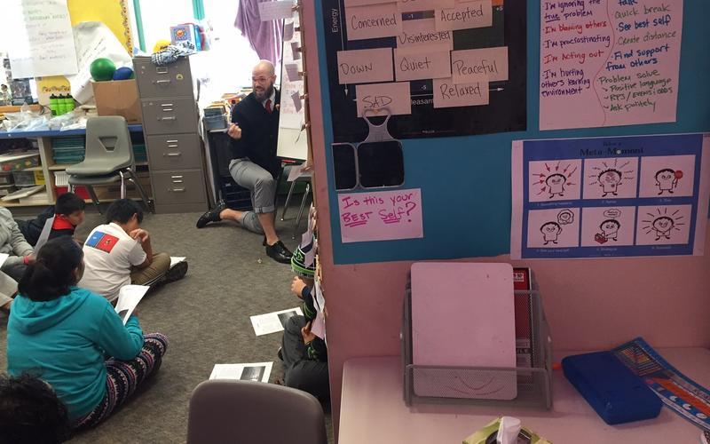 In fifth-grade teacher Ryan Schaedig's class, students take time out for self-reflection in this corner.