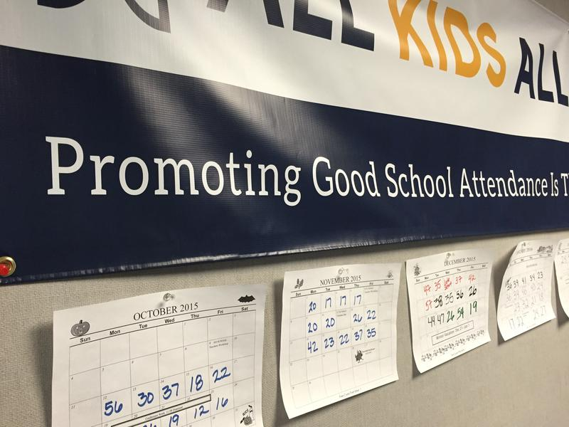 "The ""Tardy Tracker"" wall at George T. Daniel Elementary School in Kent shows how many students are late each day."