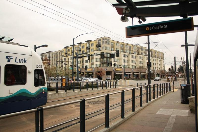 Light rail runs on the surface in Seattle's Rainier Valley.
