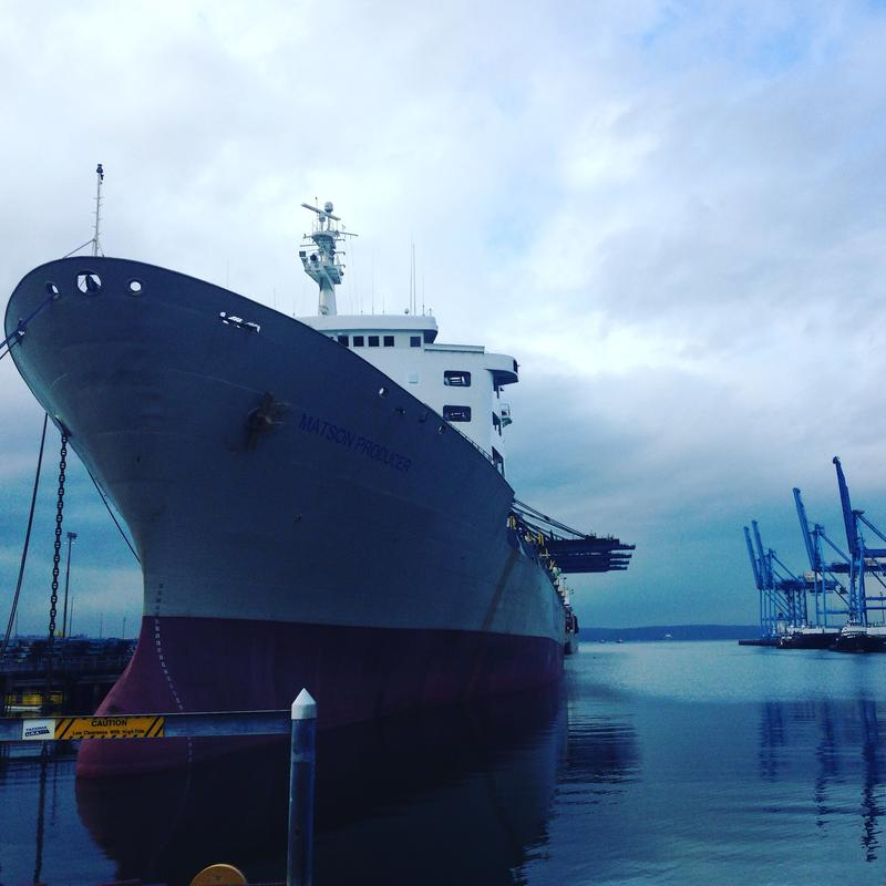 A ship moored at the Port of Tacoma not far from the proposed site of the largest methanol plant in the world.