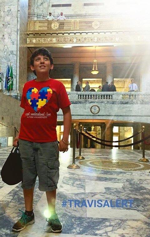 Travis King at the Capitol Building in Olympia.