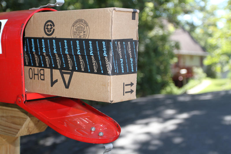 A box containing an order from Amazon.com is shown after it was delivered to a house in Etters, Pa, Wednesday, Sept 16, 2005.