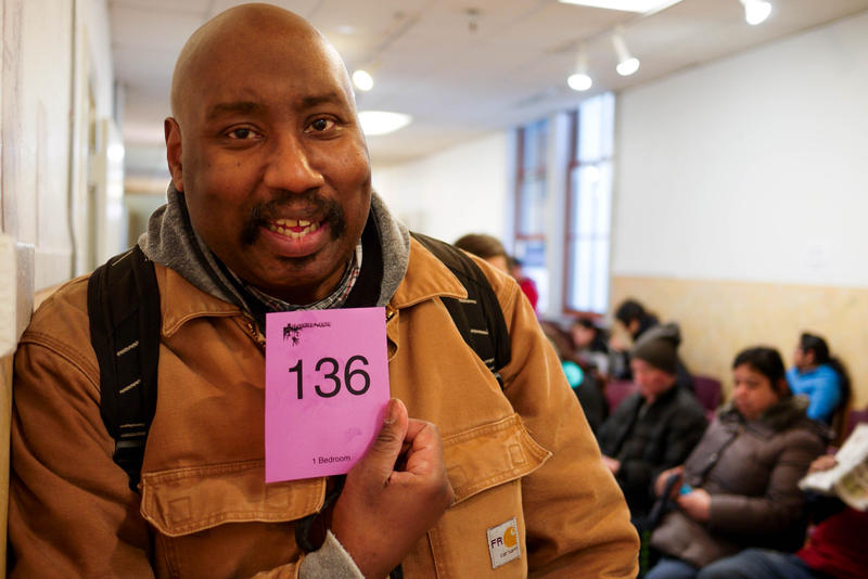 Steve Graham was No. 136 among people waiting Monday, February 22, 2016, for a chance to apply 110 low-income apartments.  'I'm keeping my fingers, toes and everything else crossed,' he said.