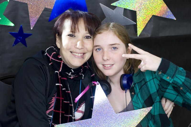 Fallon and mom, Sheila, in the photobooth at the RadioActive listening party.