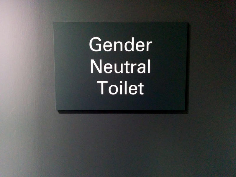 File Photo: Gender neutral toilet sign in London.