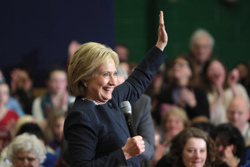 Former Secretary of State Hillary Clinton speaking with supporters at a town hall meeting at Hillside Middle School in Manchester, New Hampshire on Jan. 22, 2016.