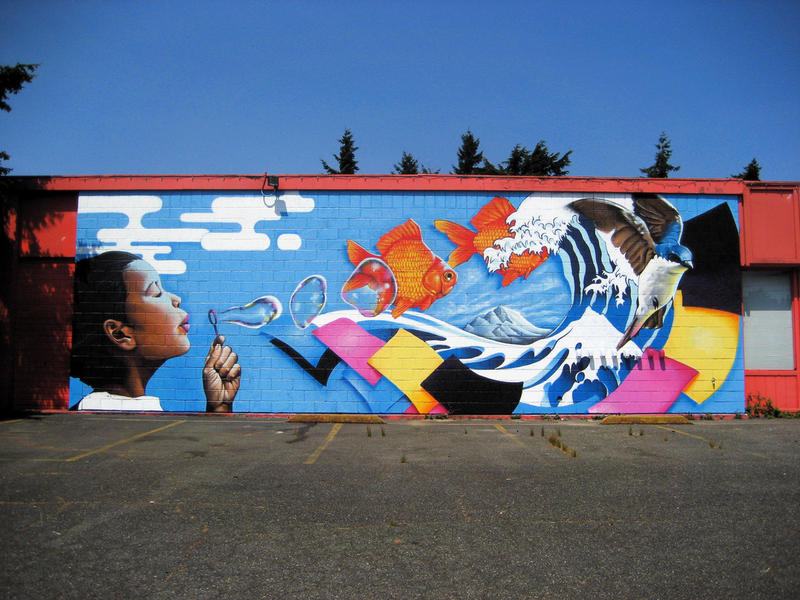 A mural at the Pratt Fine Arts Center in the Central District of Seattle.
