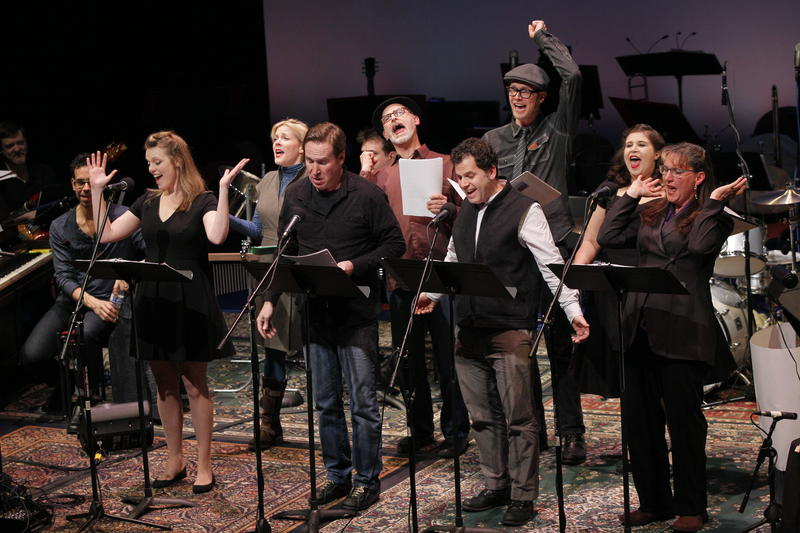 Members of the Sandbox Radio Company at ACT Theatre.  From left: Michael Marcus, Jose J. Gonzales, Rebecca Olson, Bhama Roget, Dan Tierney, Andrew Litzky, Mike Shapiro, Nik Doner, Pilar O'Connell and Llysa Holland