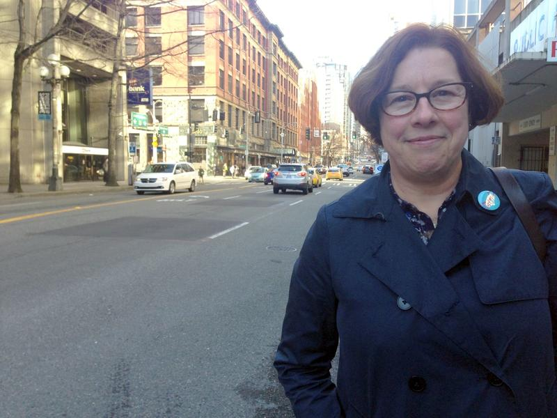 Sound Transit Senior Planner Val Batey on First Avenue in Seattle. Batey says her agency is exploring First Avenue as a possible surface route for trains serving Ballard and West Seattle.