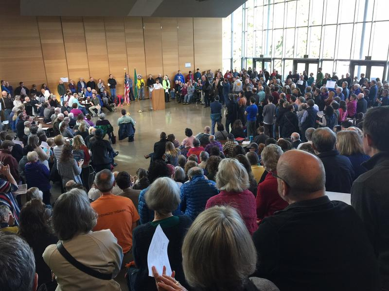 A large crowd fills a hall on Bainbridge Island for the Democratic caucuses on Saturday, March 26.
