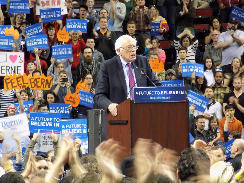 Democratic presidential candidate Bernie Sanders spoke to 15,000 supporters in and outside Key Arena, March 20, 2016.