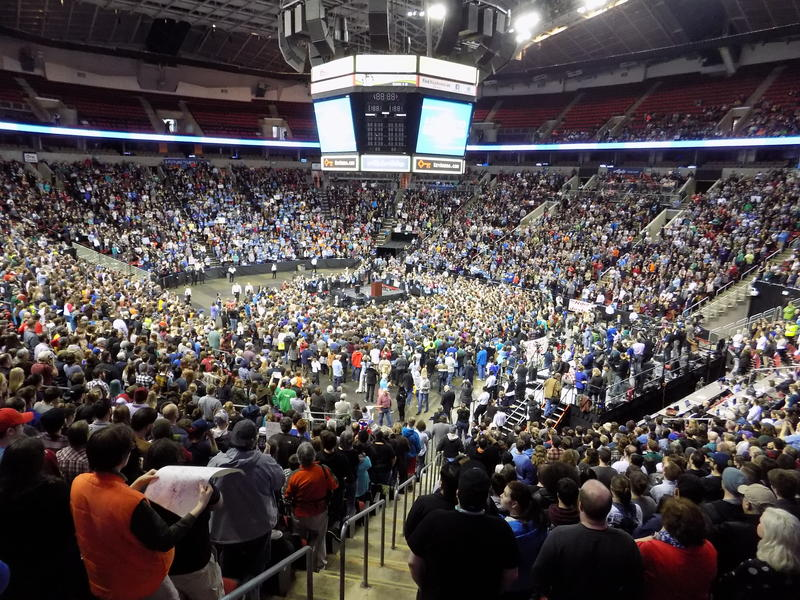 Just over 10,000 people made it past security in time to hear Bernie Sanders speak, March 20, 2016.