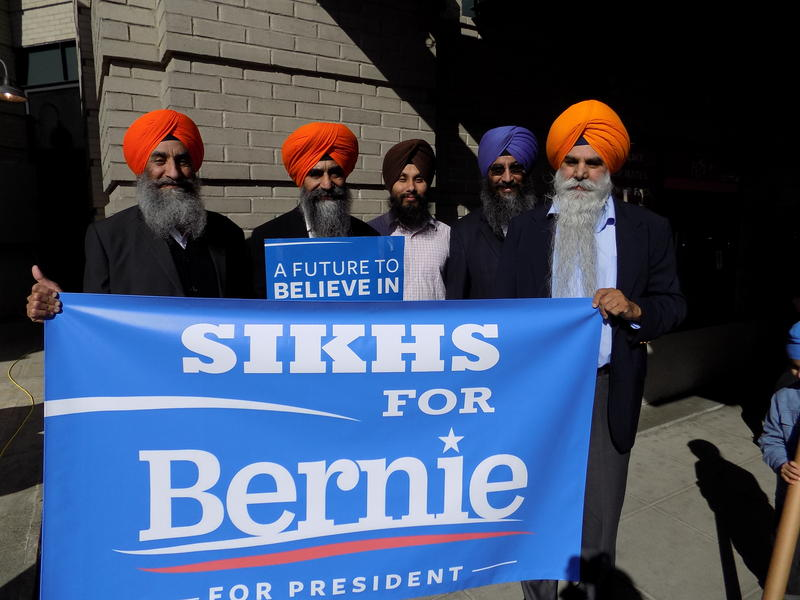 Members of the Sikh community stand outside Safeco Field on Friday afternoon in Seattle before the Bernie Sanders rally.