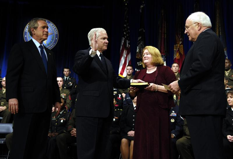 Robert Gates being sworn in as U.S. Secretary of Defense in 2006.