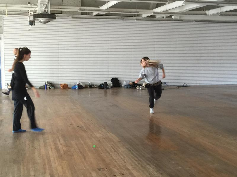 Choreographer Kate Wallich rehearses with dancers in the new V2 udio
