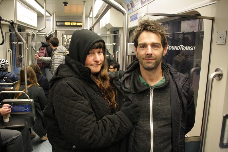 Bella Barger and Erik Nelson take light rail to get to their methadone treatment.