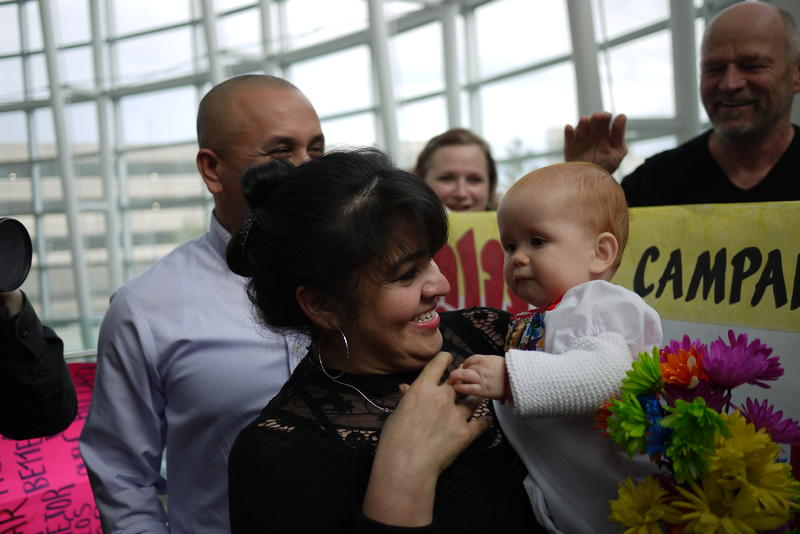 Nestora Salgado, an activist from Renton who was imprisoned in Mexico, spoke with supporters upon arrival at Sea-Tac Airport.