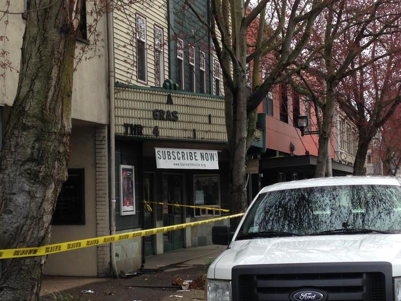 Taproot Theatre lost letters from its marquee in the gas leak blast on March 9, 2016.