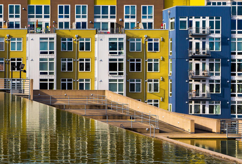 Apartment housing: Colorful architecture next to the Museum of Glass in Tacoma, Washington.