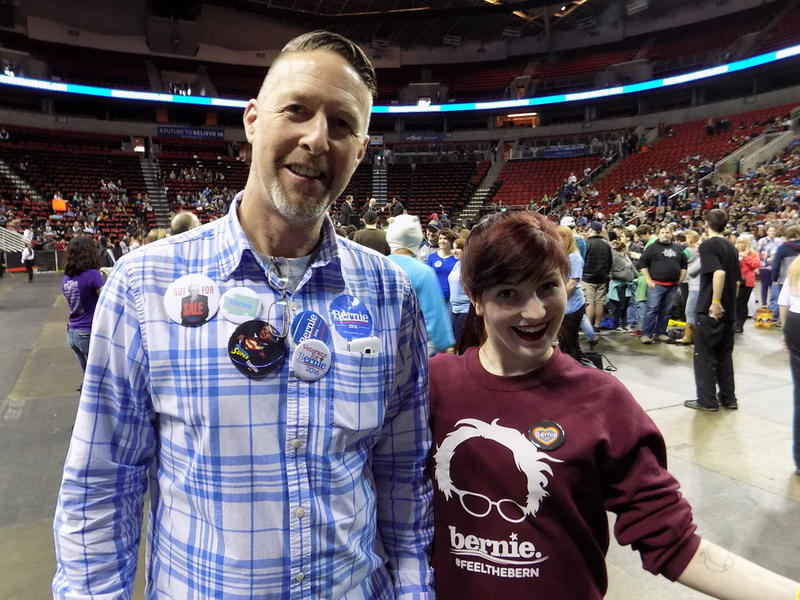 Chris Thatcher and Courtney Row. Thatcher says Sanders is the alternative to establishment politics.