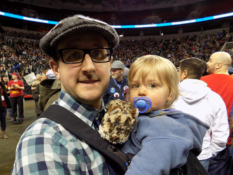 Jason Gapper credits Sanders with getting him involved in politics. He's wearing his son, Colin, in what appears to be a Bernie Baby Bjorn. (Hold on while we trademark that.)