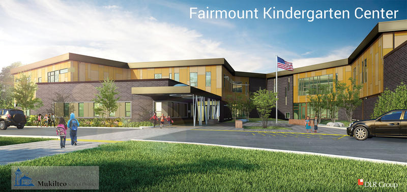 An architect's rendering of the front of Mukilteo's kindergarten-only school, slated to open in 2017.