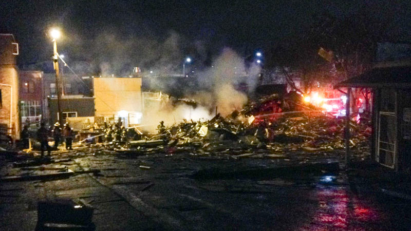 Several buildings were leveled in a gas leak explosion in Seattle's Greenwood neighborhood Thursday. Eight firefighters were sent to Harborview for minor injuries.