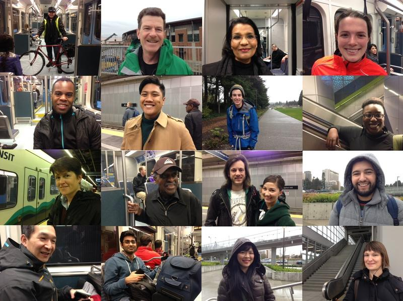 Faces of commuters who passed through University of Washington and Capitol Hill stations Monday morning.