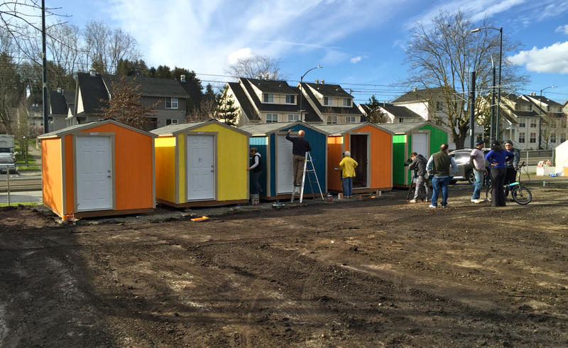 Tiny houses being erected at Othello Village in South Seattle.