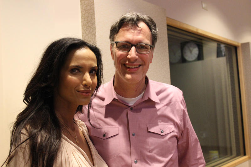 Padma Lakshmi in the KUOW studios with host Bill Radke.