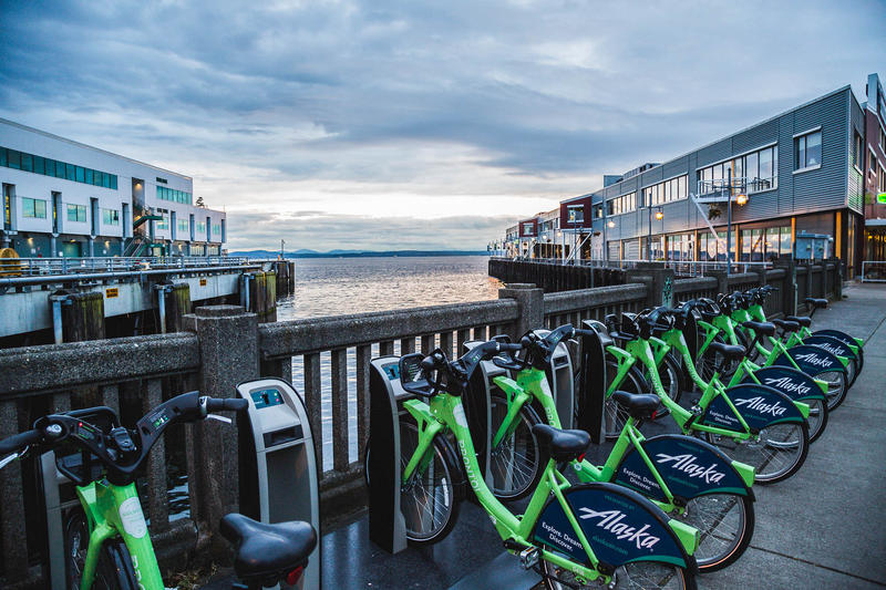 Pronto bikes on the Seattle waterfront. The City of Seattle voted to buy the nonprofit, even though it wasn't doing well financially.