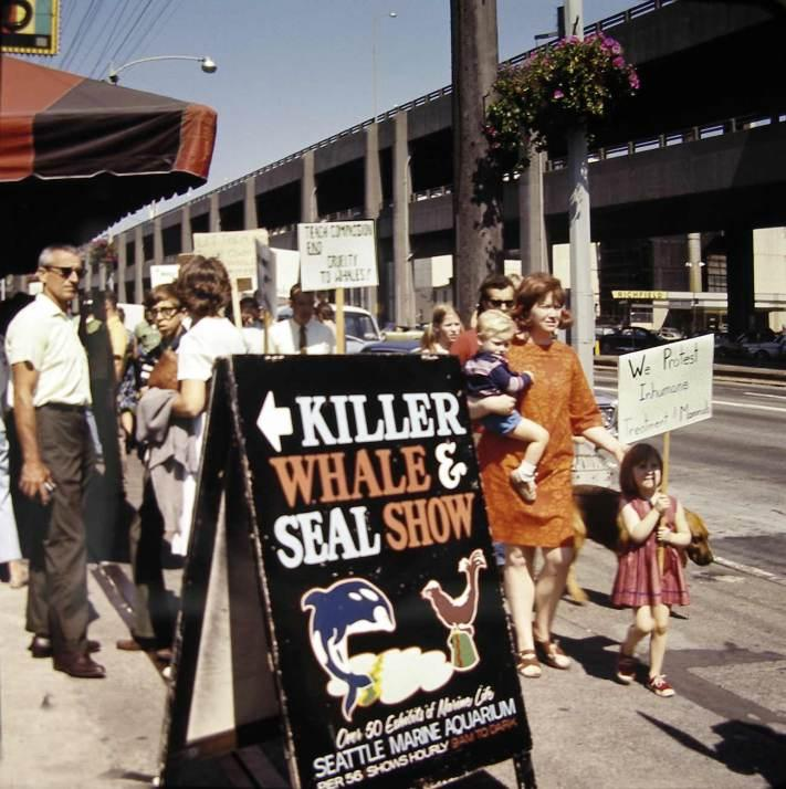 Protesters fill the sidewalk in front of Pier 56 in 1970.