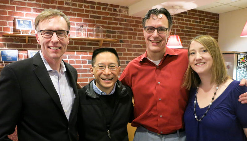 Former Attorney General Rob McKenna, left, writer & activist Eric Liu, host Bill Radke and state Rep. Noel Frame.