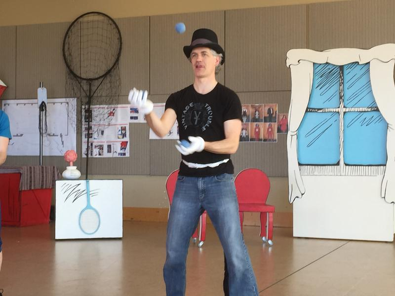Actor Chad Kelderman rehearsing for his role as The Cat in SCT's new production of 'The Cat in the Hat' by Dr. Seuss