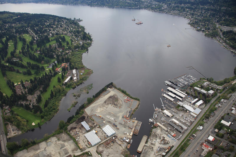 View of the construction site in Kenmore at the north end of Lake Washington, April 29, 2012.