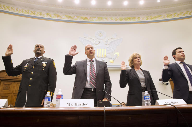 Susan Lee Rahr, executive director of the Wash. State Criminal Justice Training Commission and a member of President Obama's Task Force on 21st Century Policing, being sworn in May 19, 2015, to testify before a House Judiciary Committee hearing.